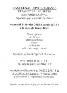 [:fr]Repas et Bal Musette avec Patrick Dorval[:] @ Salle du Temps Libre | Castelnau-Rivière-Basse | Occitanie | France