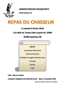 [:fr]Repas du Chasseur[:] @ A la Salle du Temps Libre | Castelnau-Rivière-Basse | Occitanie | France
